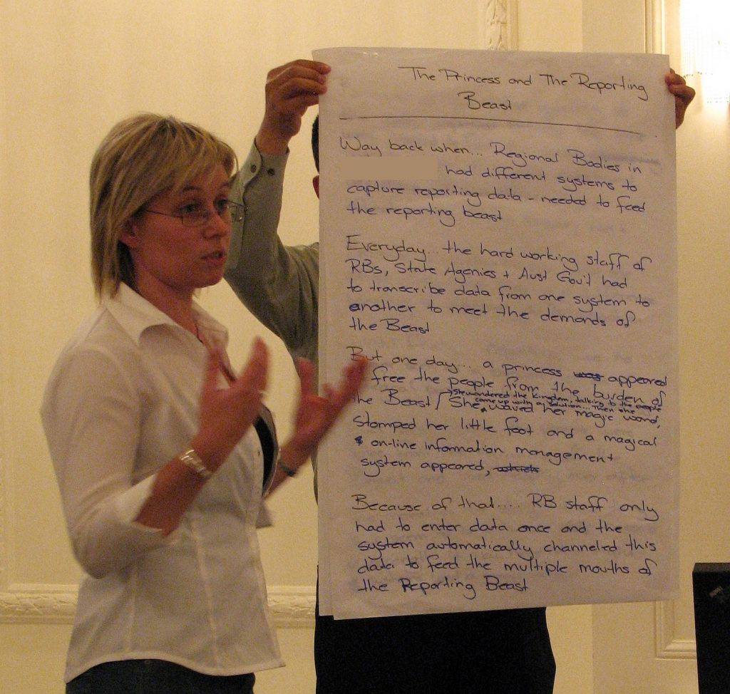 Another of the story spine stories being communicated to all workshop participants
