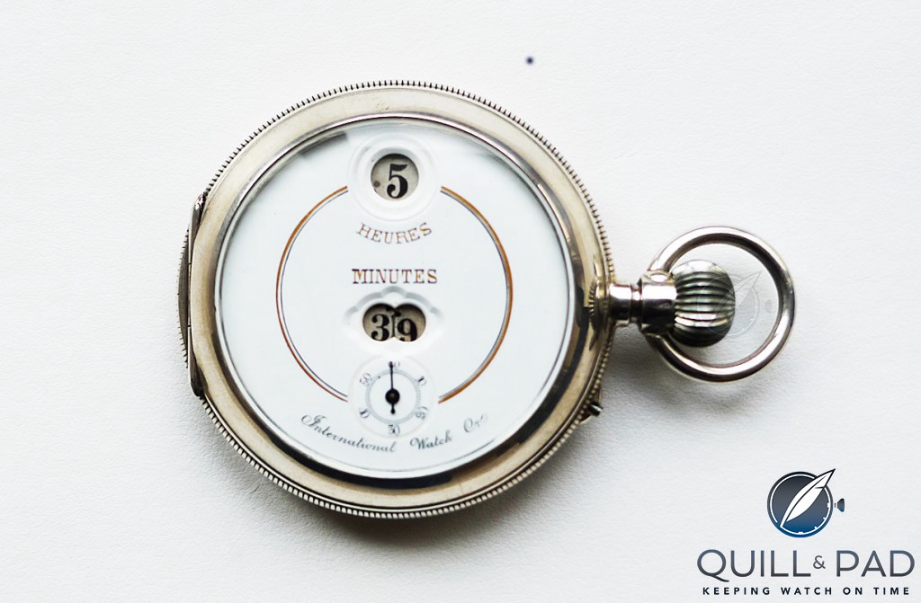 Pallweber pocket watch with digital display and enamel dial for IWC circa 1885