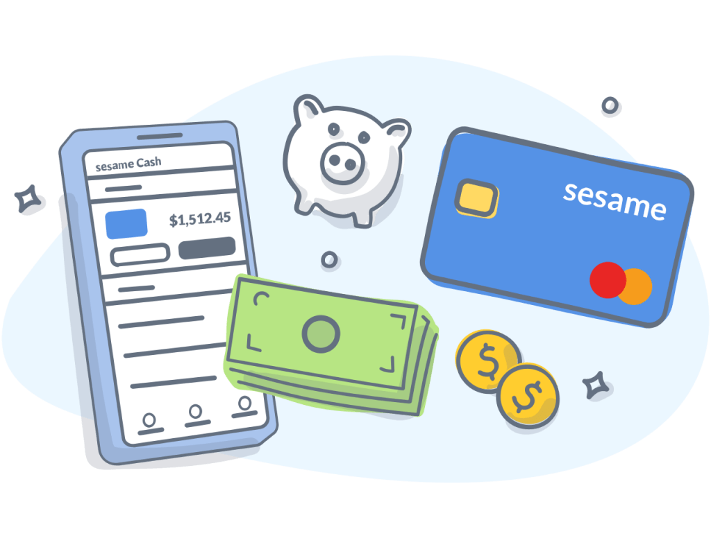 Sesame Cash card with a piggy bank, dollars, coins, and an app