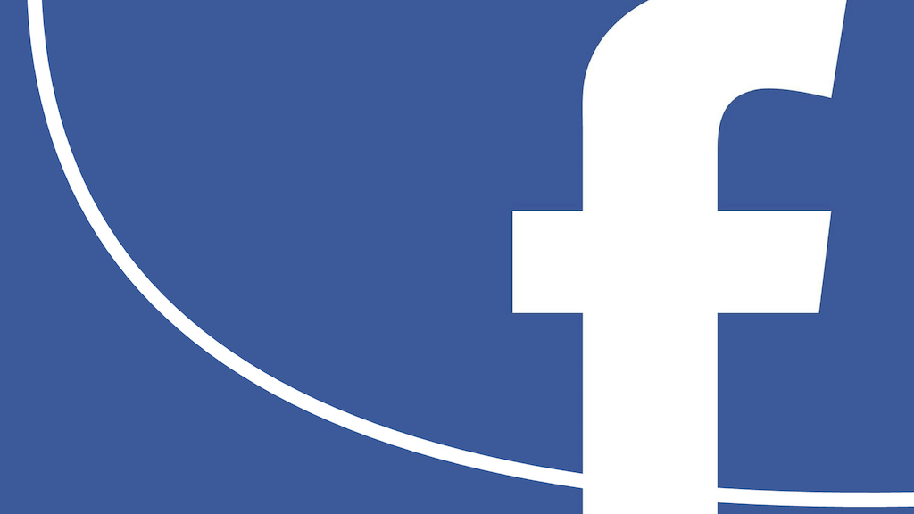 The icon for Facebook, superimposed on a graph showing a power-law distribution.
