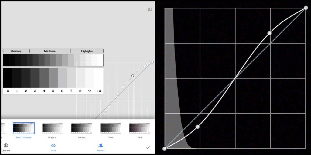 Adjust the s-curve contrast line using the contrast presets using Curves tool in Snapseed photo editing app