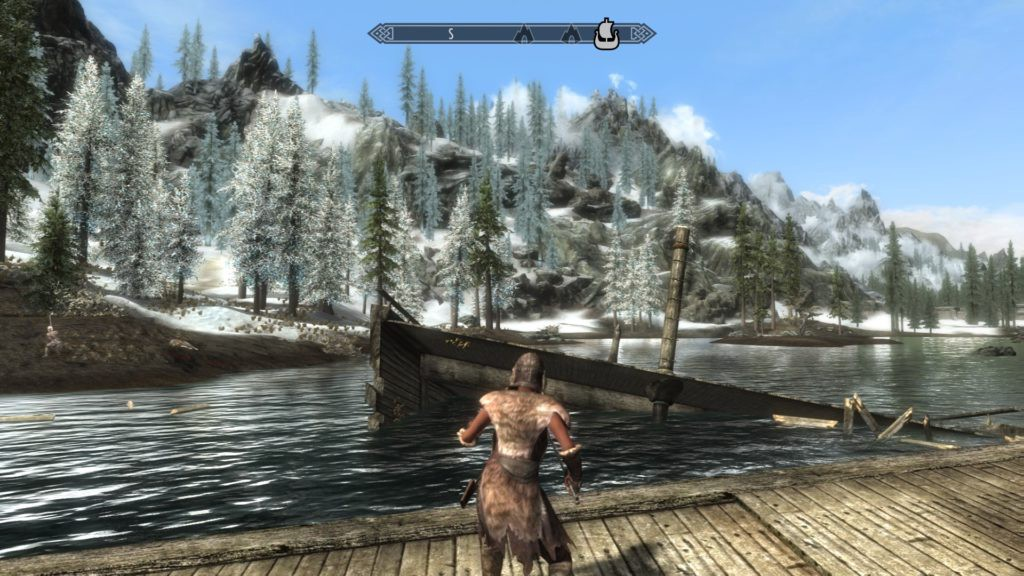 Dragonborn wearing fur armor standing on a wrecked dock.