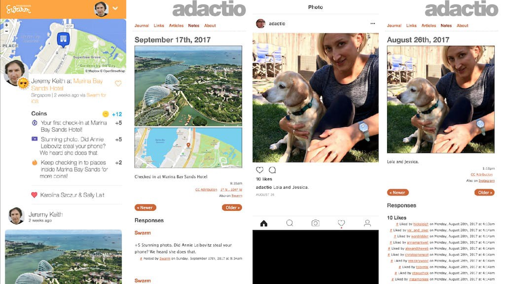 Screenshots of posts on Swarm and Instagram, accompanied by screenshots of the same content on adactio.com.