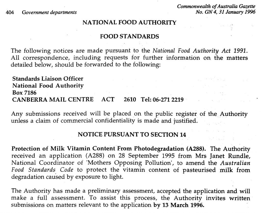 Mothers Opposing Pollution submission, National Food Authority Act 1991