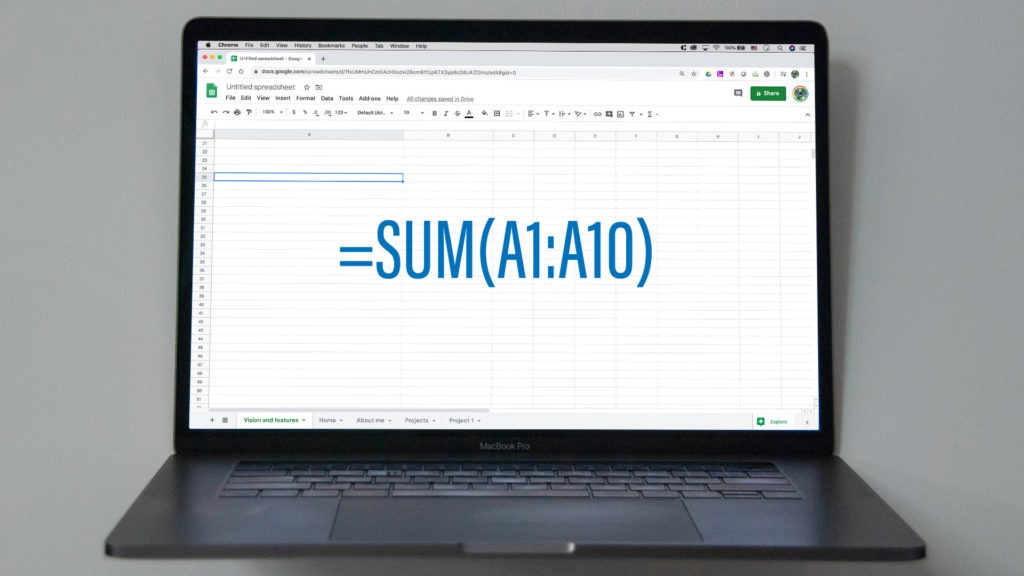 """An image of Macbook showing Google Sheets open, with an overlaid formula """"=SUM(A1:A10)""""."""