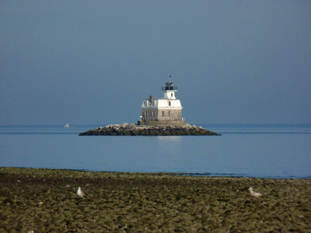 Small white/tan lighthouse on small island
