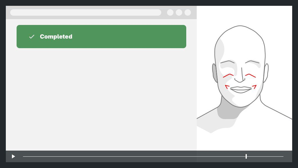 on the left a screen capture with a completed task, on the right the face of the user with expression of happiness