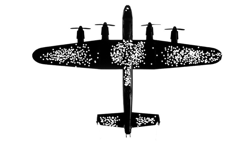A scatterplot diagram of an airplane showing bullet holes concentrated in the middle of the fuselage, the wings, and the tail.