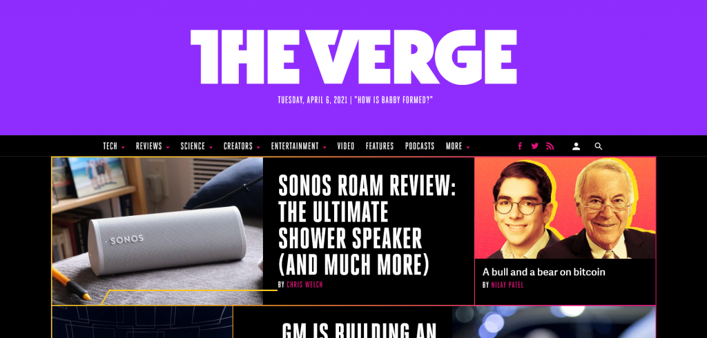website for gadget reviews and tech news — The Verge
