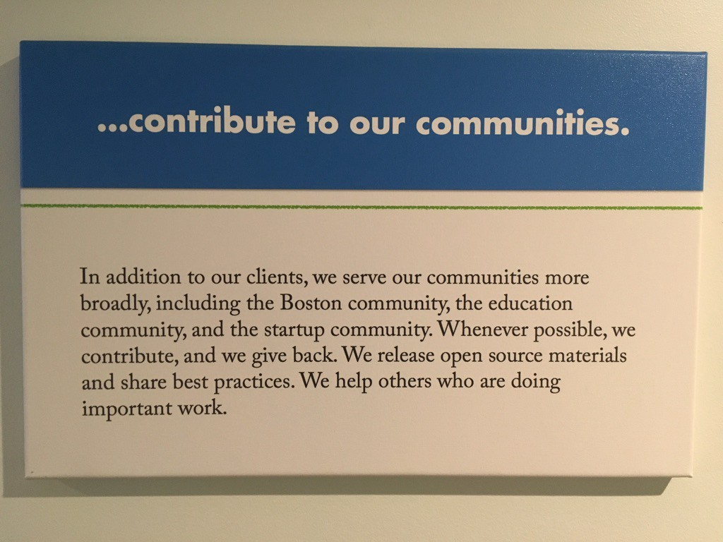 We contribute to our communities, including the Boston community, the education community, and the startup community.