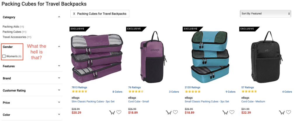 """Product list with left filters that indicate we're filtered to packing cubes for travel backpacks (11 results), and one can filter by the gender of """"women"""" (9 results)"""