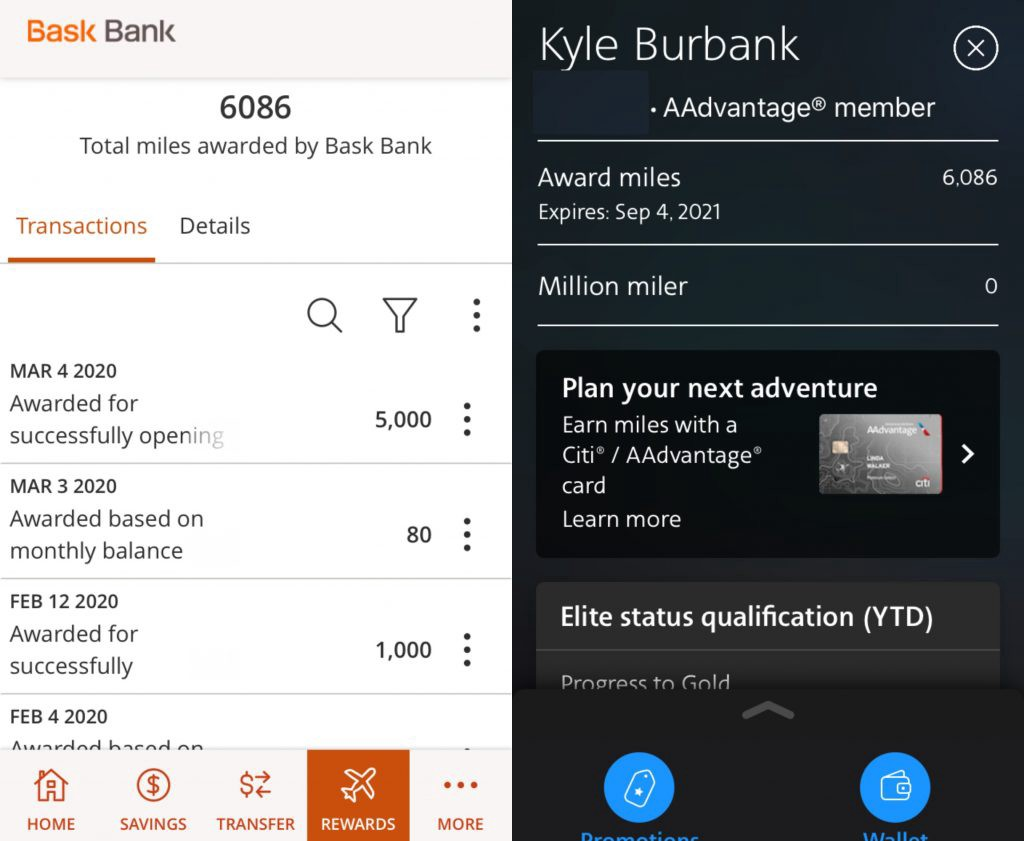 Bask Bank and American Airlines app screenshots