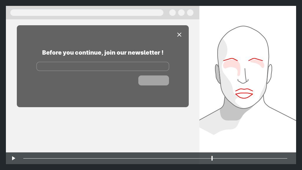 on the left a screen capture with a large popup, on the right the face of the user with expression of surprise