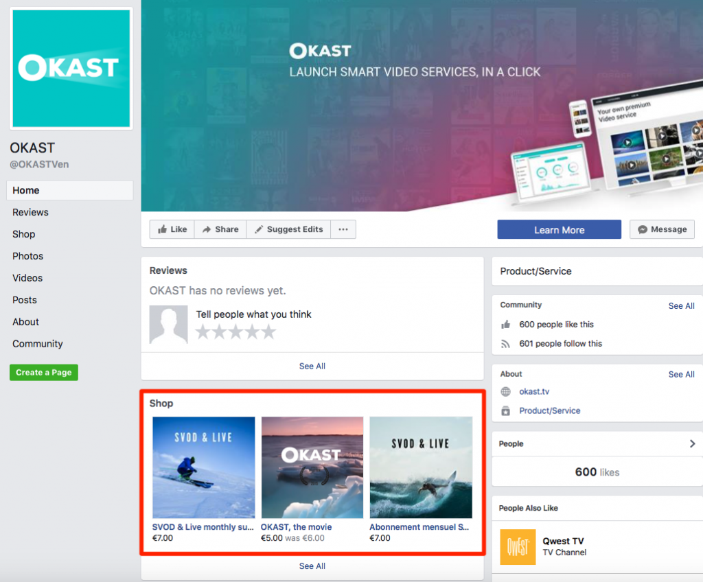 How to sell your video contents on a Facebook Shop - OKAST