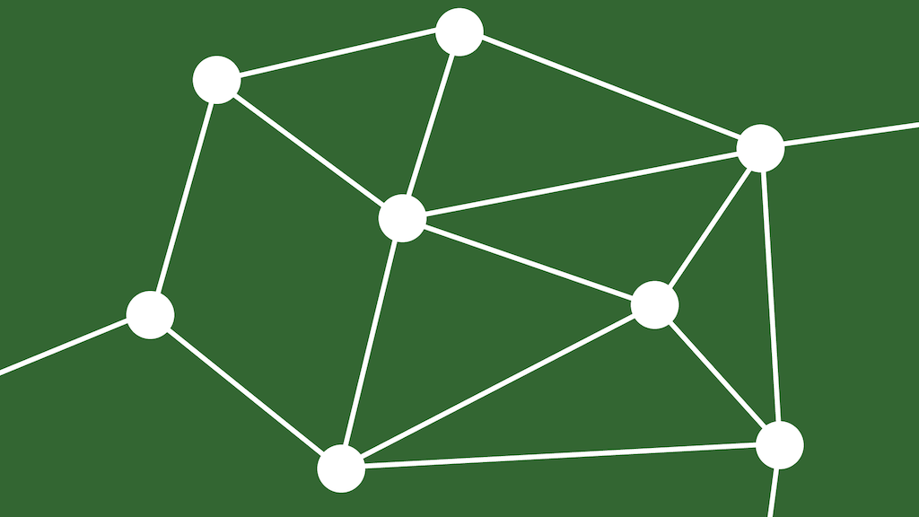 A scattering of circles, each one with some connections to other circles.