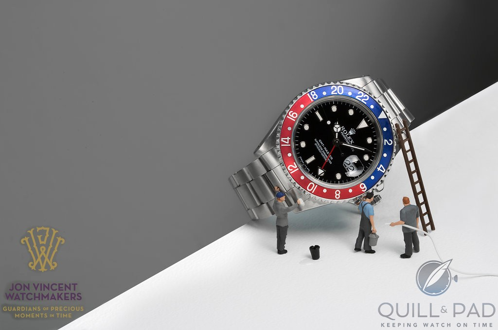 Mini watchmakers cleaning a Rolex GMT Master (photo courtesy Susan Castillo/Jon Vincent Watchmakers)