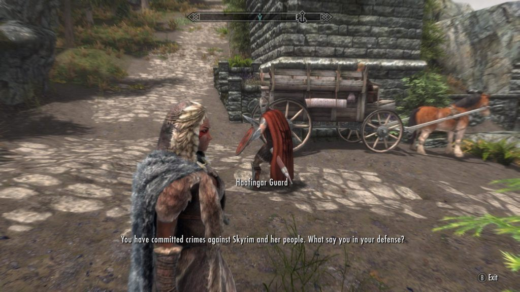 Dragonborn being arrested by the Solitude guard.
