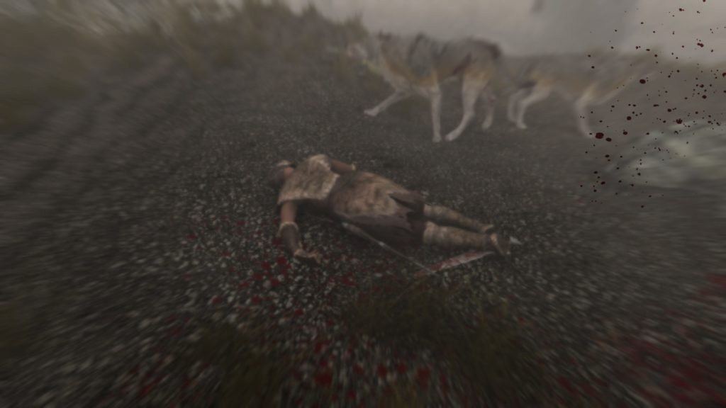 Dragonborn dead on the ground surrounded by wolves.