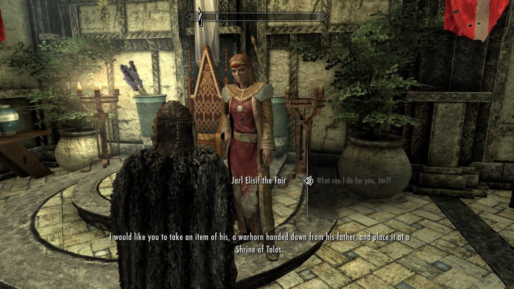 Dragonborn speaking to the Jarl, accepting a job to earn a bit of gold.