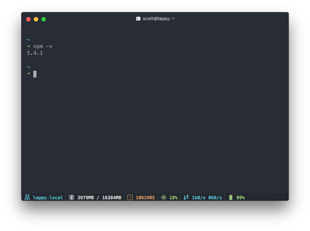 Screenshot of my Terminal application, Hyper Terminal, displaying the output of the 'npm -v' command. The resulting text displays, '5.4.1'