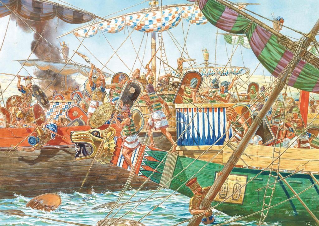 EGYPTIANS BATTLE THE SEA PEOPLES