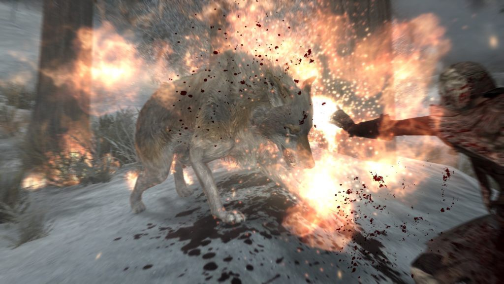 Dragonborn using a fire spell on a wolf.