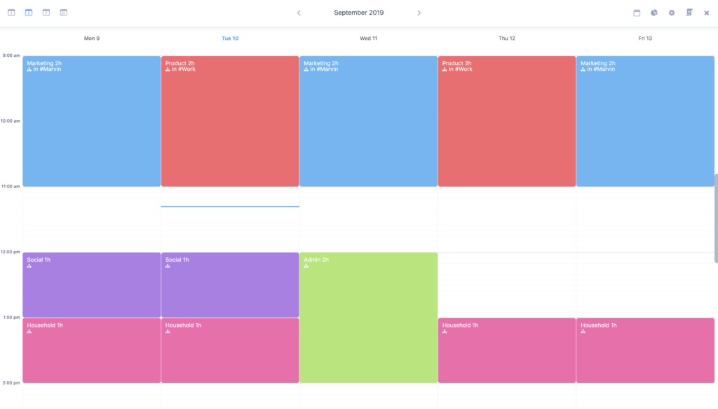 A time blocking schedule (Amazing Marvin app)