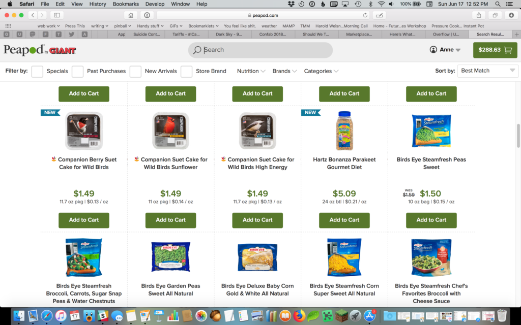 List of products on a grocery store website, where the user searched for bird seed. The results go wild bird seed, wild bird seed, wild bird seed, parakeet food, Bird's Eye brand veggies, veggies, veggies, veggies, veggies, veggies.