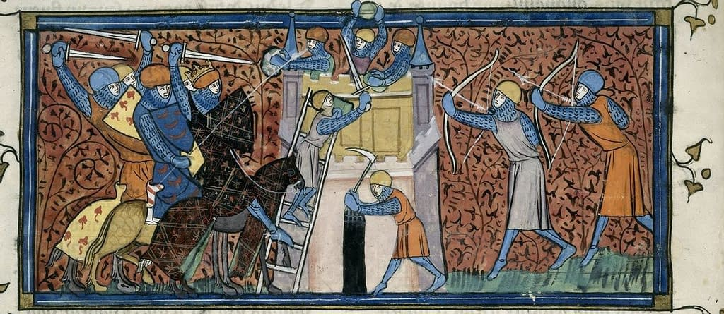 A medieval depiction of the Siege of Avignon, from the Grandes Chroniques de France.