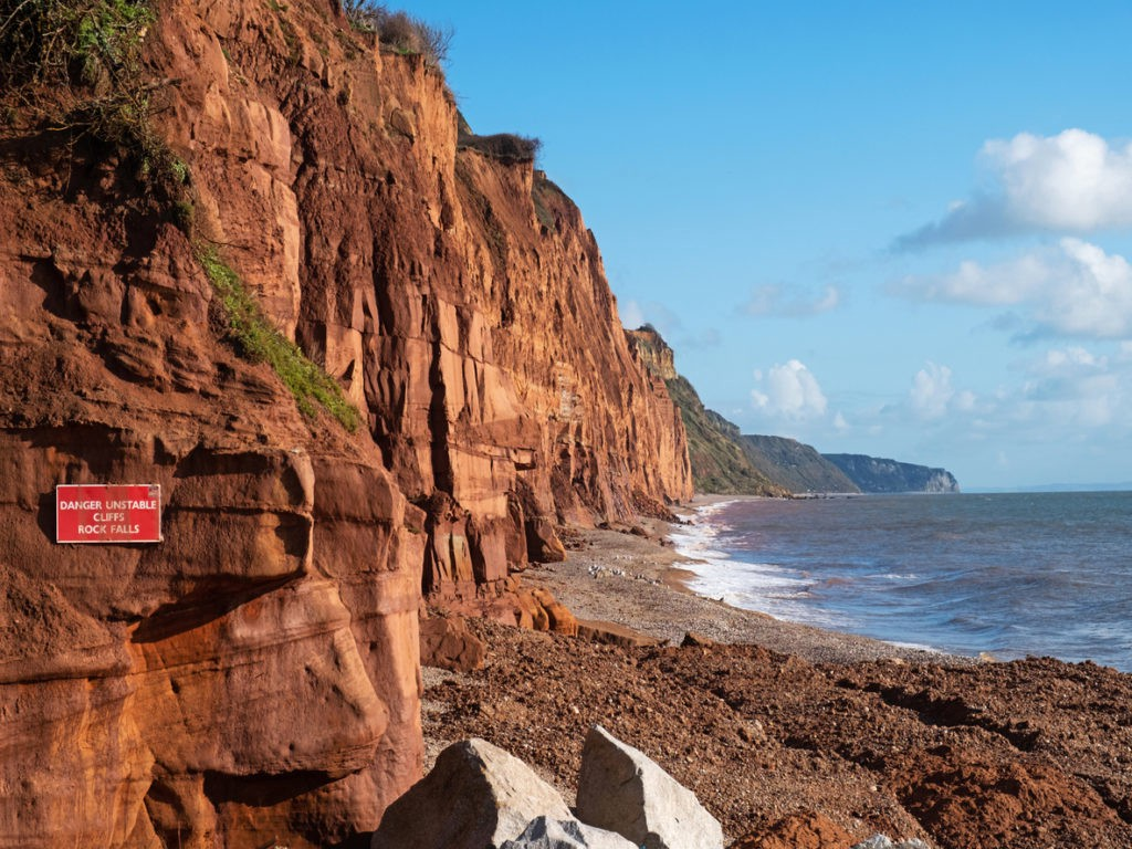 Dangerous cliffs on the south Devon coast UK