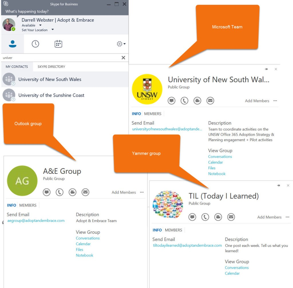 Skype's subtle integration with Office 365 Groups — Outlook