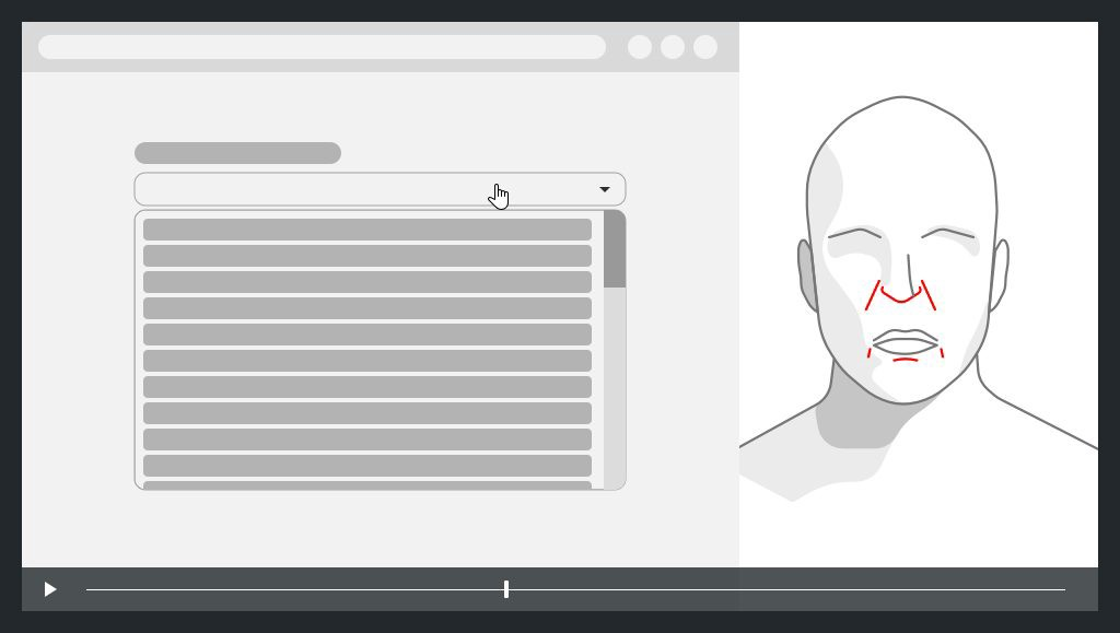 on the left a screen capture with very long dropdown, on the right the face of the user with expression of disgust