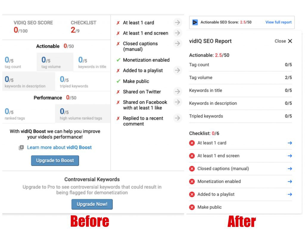before and after screenshots of VidIQ SEO score interface