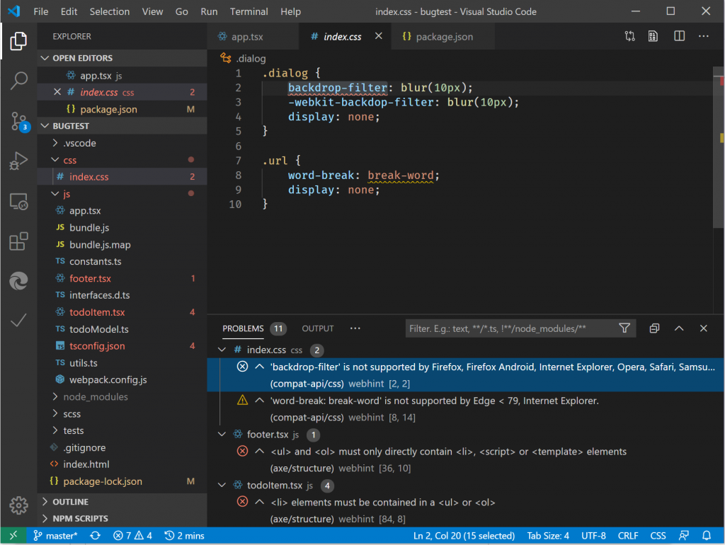 screenshot of webhint extension in Visual Studio code