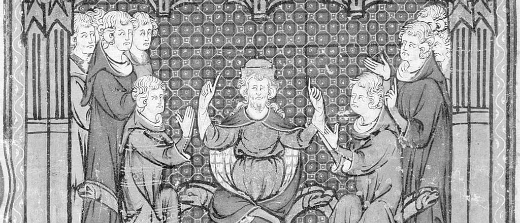 Another image from the Grandes Chroniques de France: Charles Martel dividing the Frankish kingdom between his two sons.