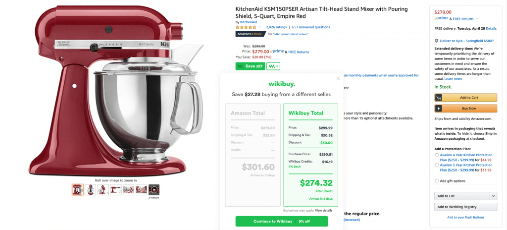 KitchenAid stand mixer with Wikibuy discount