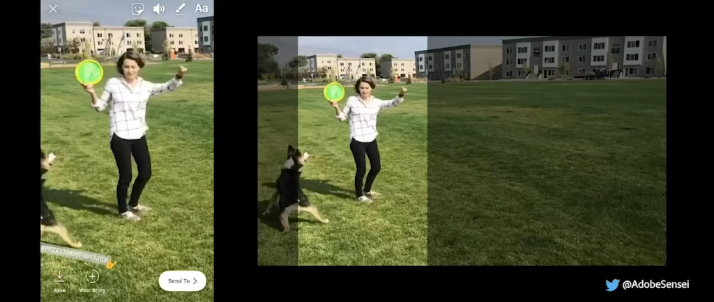Adobe Sensei Smart Crop uses artificial intelligence to determine the main subjects in a photo of a woman playing frisbee.