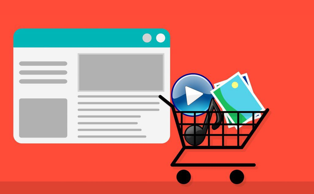 shopping cart of stock video clips