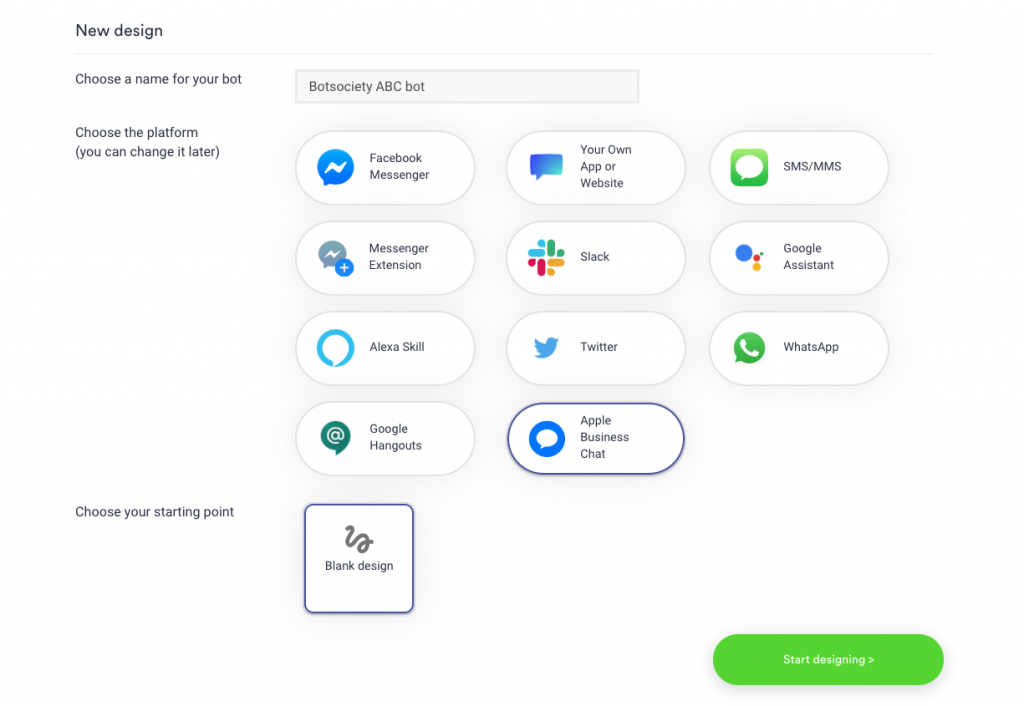 Apple Business Chat new design page