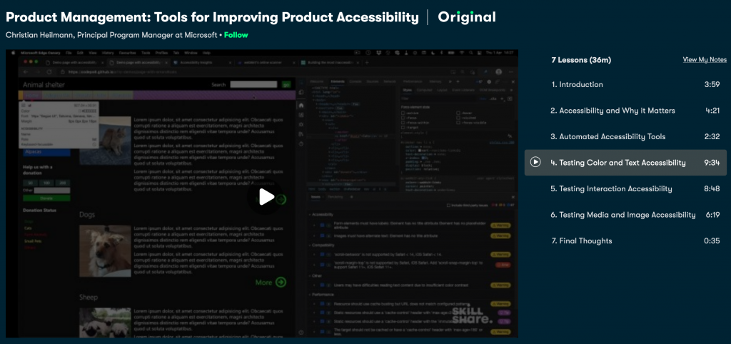 Screenshot of the Skillshare class on accessibility testing