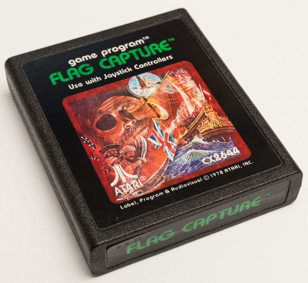 A photo of a rare Atari Inc. Flag Capture picture label game cartridge.