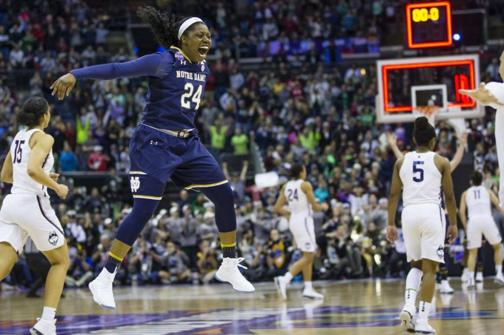Notre Dame beat UConn on a last second shot in triple overtime.