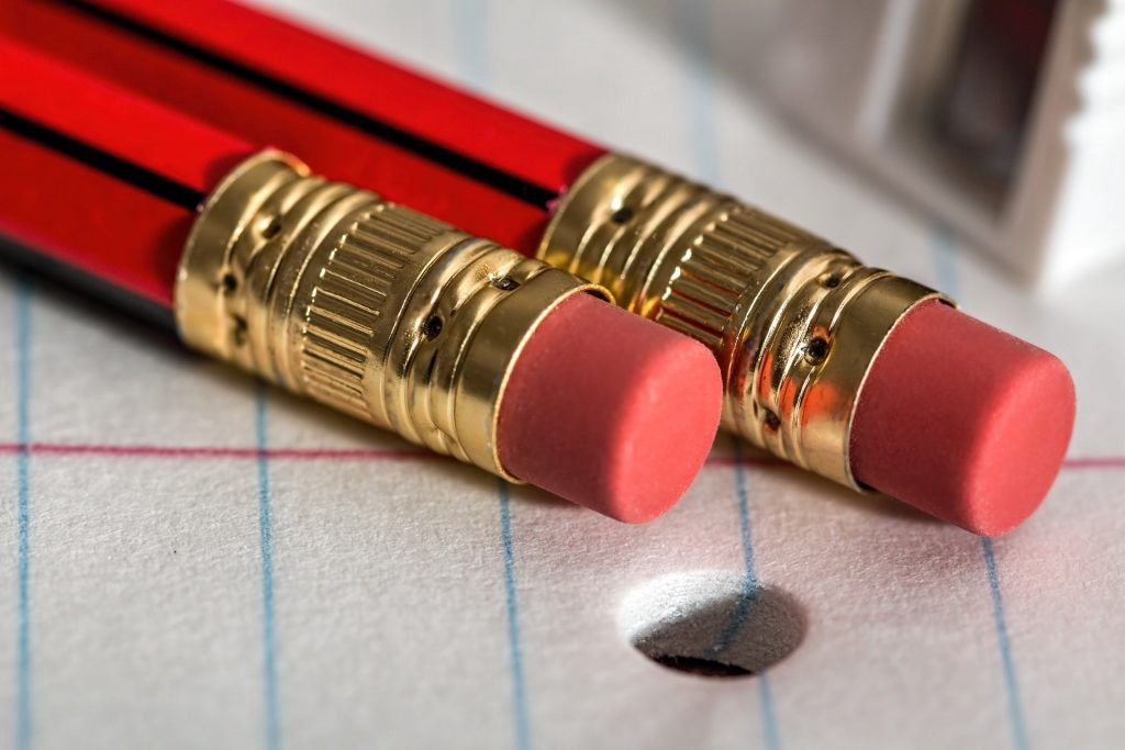 two pencils with erasers