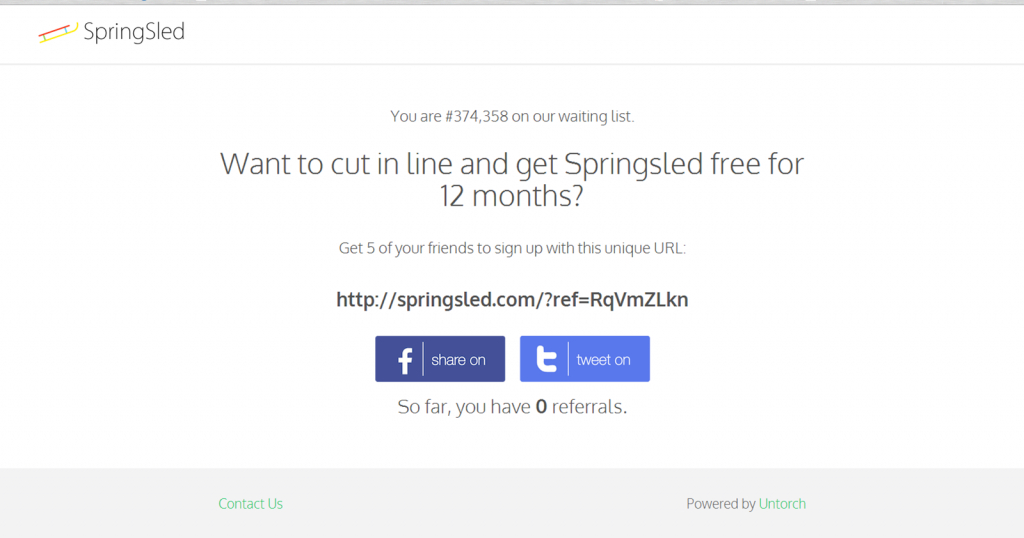 SpringSled referral page.