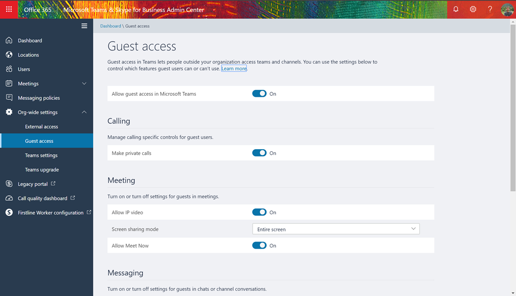 Org-Wide settings in the Teams & Skype Admin Center