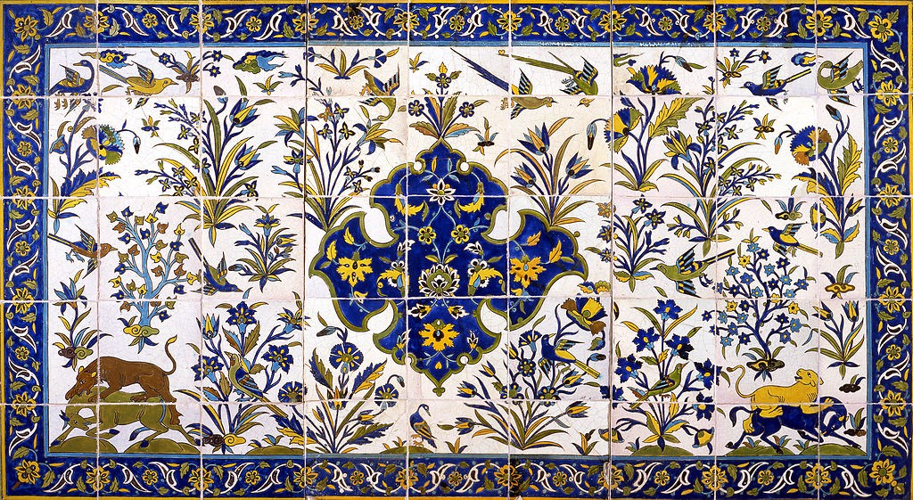 Painted tiles with the design of birds, hunting and flowers from Qajar dynasty. Museum Davids Samling