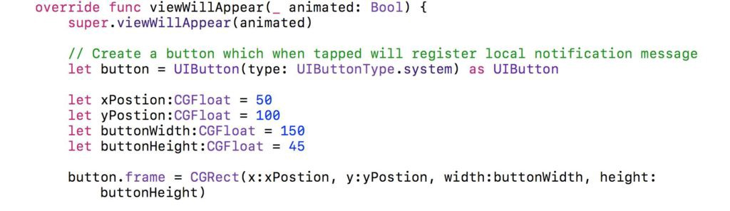 Snippet of Swift code