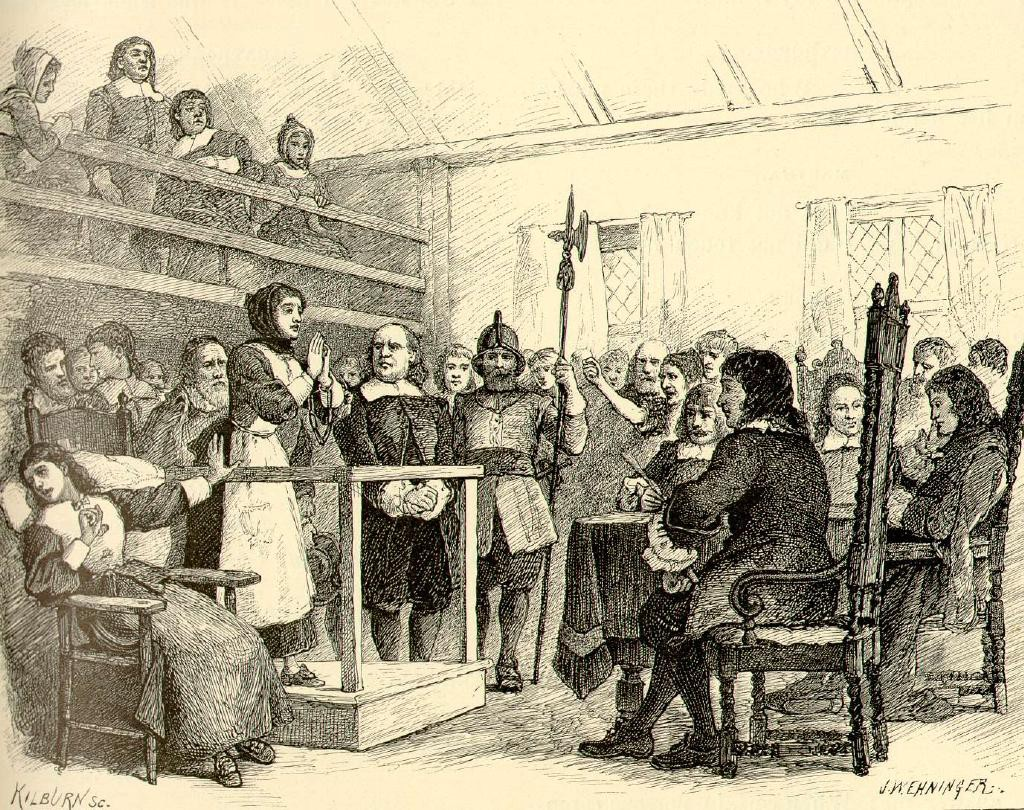 Salem witch trials: an accused witch pleads with a judge for mercy while her accuser recoils