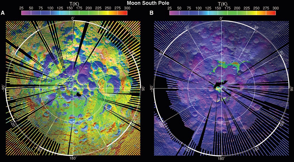 LRO Diviner Lunar Radiometer Experiment maximum (left) and minimum (right) surface temperature maps of the north and south po