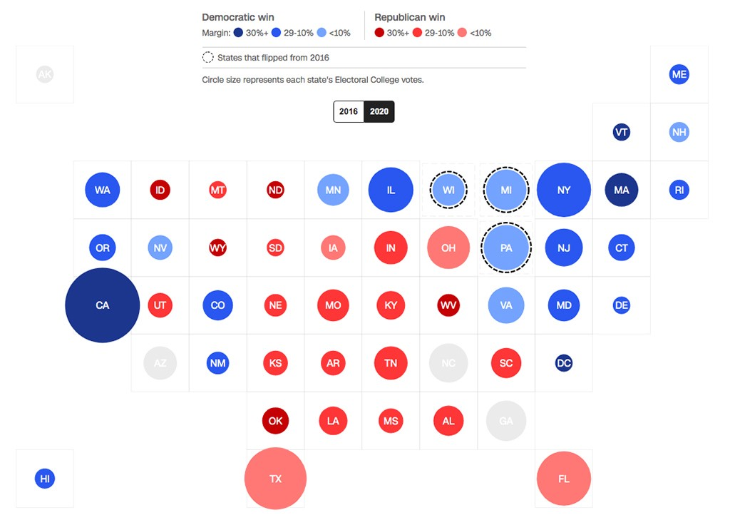 How the electoral map changed between 2016 and 2020 by CNN